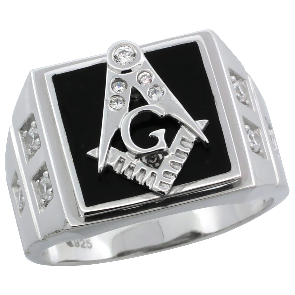 Mens Sterling Silver Black Onyx Masonic Ring CZ Stones & Square Accents, 19/32 inch wide
