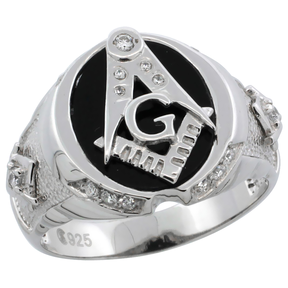Mens Sterling Silver Black Onyx Masonic Ring CZ Stones & Textured Sides, 5/8 inch wide