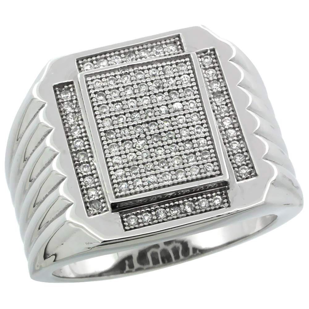 Mens Sterling Silver Cubic Zirconia Large Rectangular Ring 90 Micro Pave 19//32 inch Wide