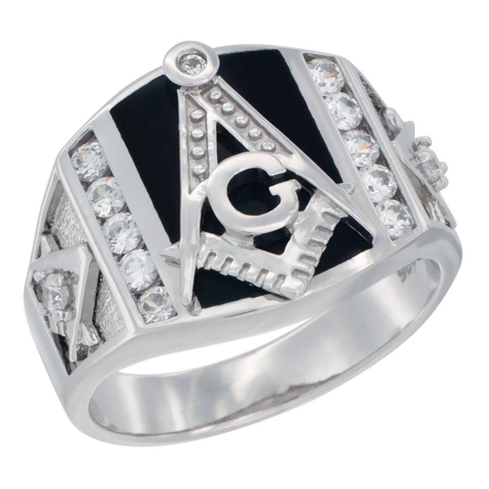 Mens Sterling Silver Cubic Zirconia Masonic Ring Rectangular Black Onyx 5/8 inch wide