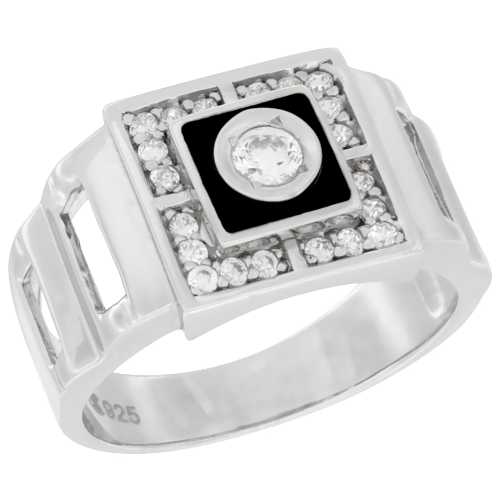 Mens Sterling Silver Cubic Zirconia Cross Ring Square Black Enamel 1//2 inch Wide