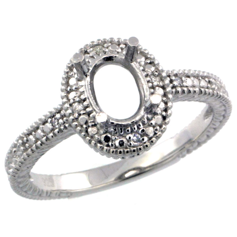 Sterling Silver Diamond Vintage Style Semi-Mount (7x5 mm Oval Stone Ring w/ 0.04 Carat Brilliant Cut ssizes 5 to 10