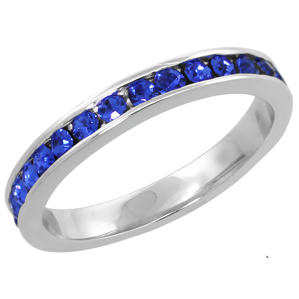 "Sterling Silver Stackable Eternity Band, September Birthstone, Sapphire Crystals, 1/8"" (3 mm) wide"