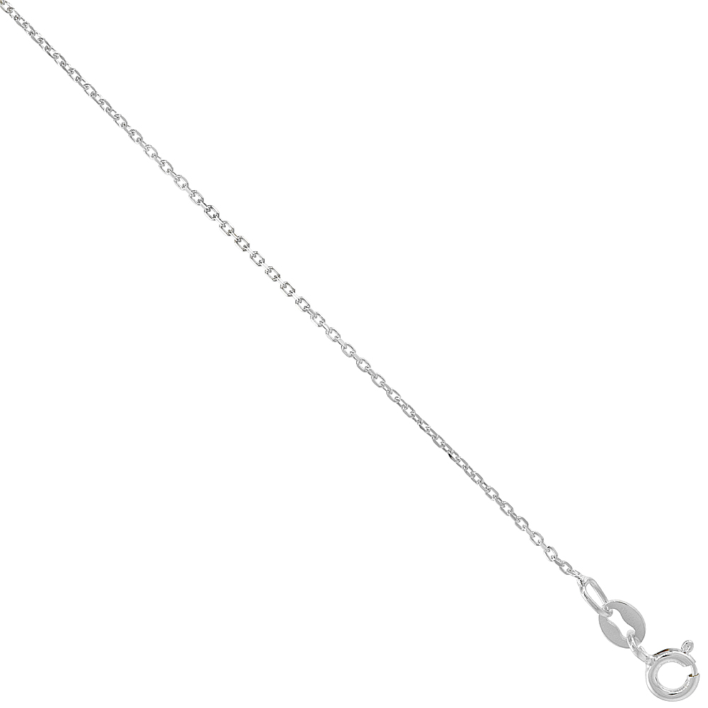 Sterling Silver fine Boston Chain Necklace 1mm thin Nickel Free Italy, sizes 16 - 18 inch