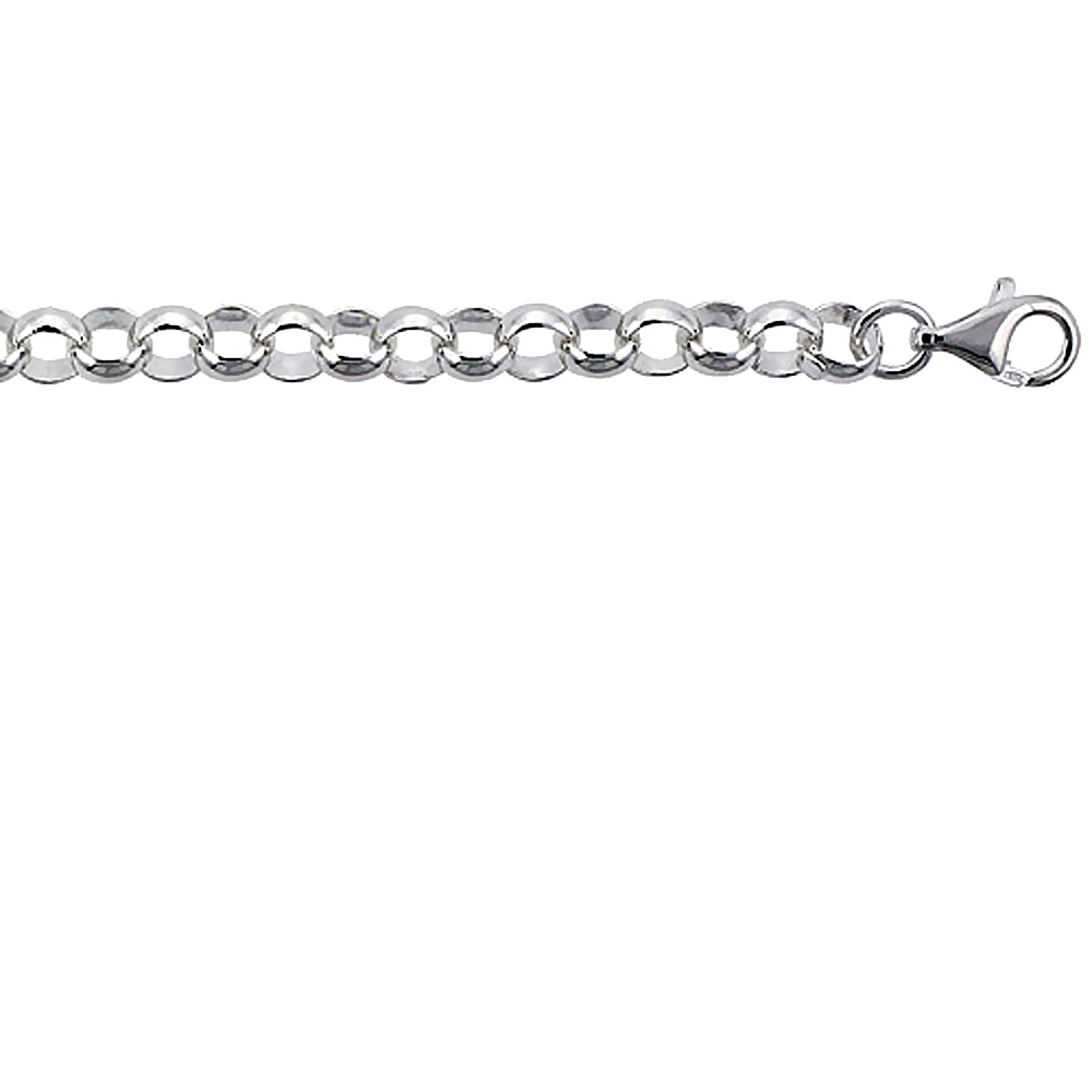 Sterling Silver Italian Rolo Chain Bracelet 8mm Nickel Free, sizes 7 - 8 inch