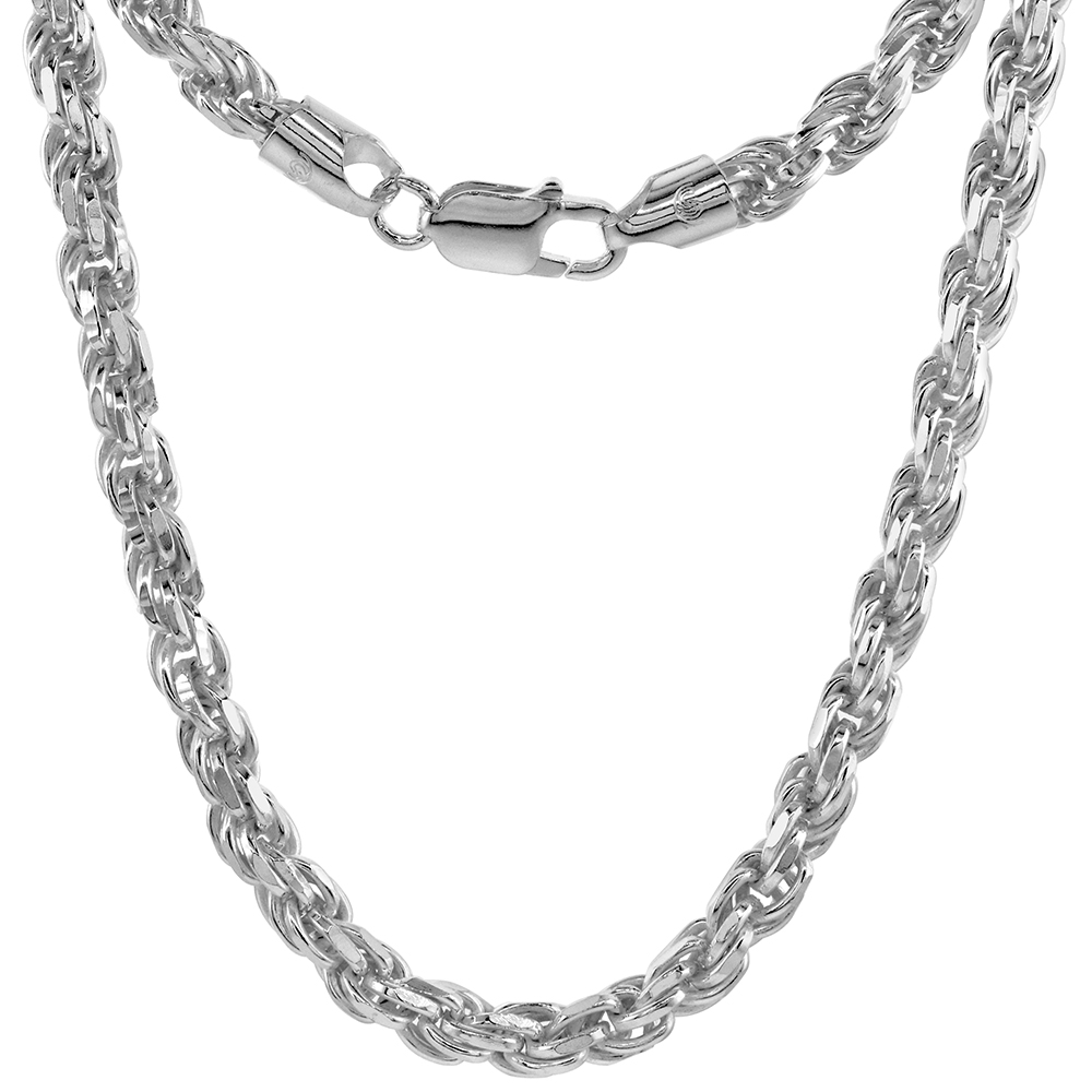 Thick Sterling Silver 6mm Rope Chain Necklace for Men and Women Diamond cut Nickel Free Italy 8 - 28 inch