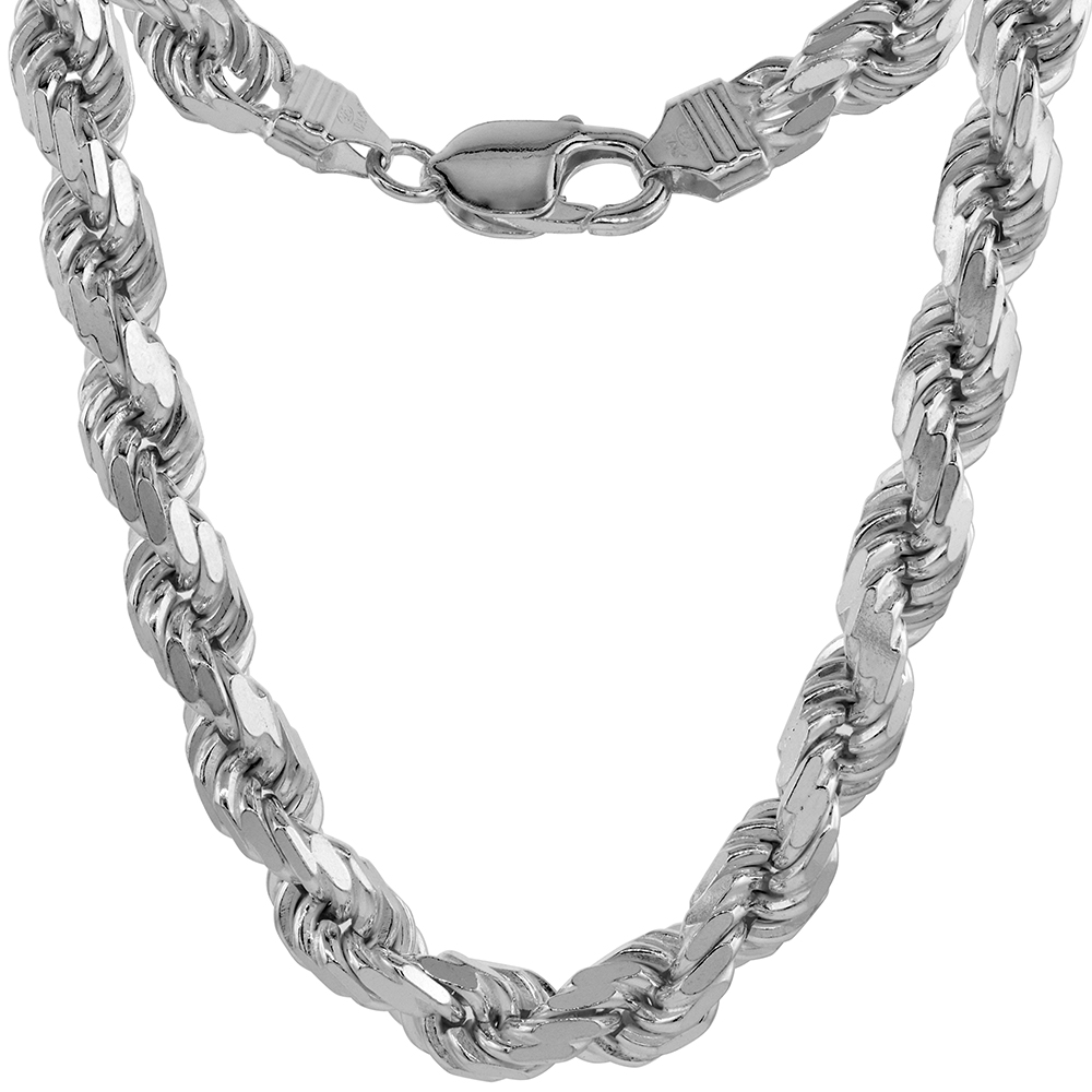 Very Thick 8mm Sterling Silver Diamond-cut Rope Chain Necklaces and Bracelets for Men Handmade Nickel Free Italy 20 inch