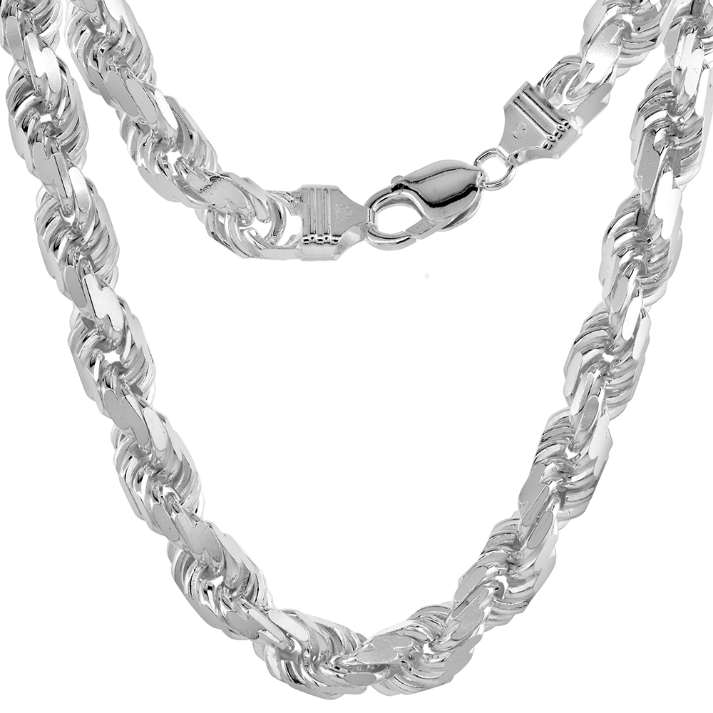 9mm Sterling Silver Diamond-cut Rope Chain Necklaces and Bracelets for Men Handmade Nickel Free Italy 8 - 30 inch