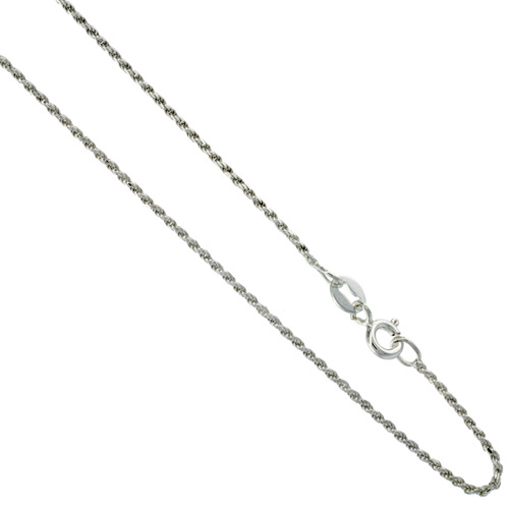 1mm-1.6 mm Very Thin Sterling Silver Diamond Cut Rope Chain for Women Nickel Free Italy