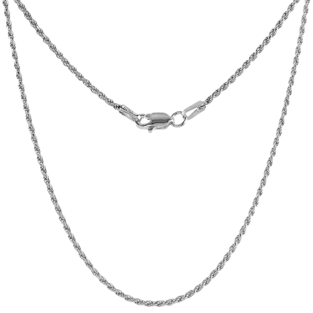 Sterling Silver Rope Chain Necklace 1.5 mm Thin Diamond cut Nickel Free Italy, sizes 16 - 24 inch