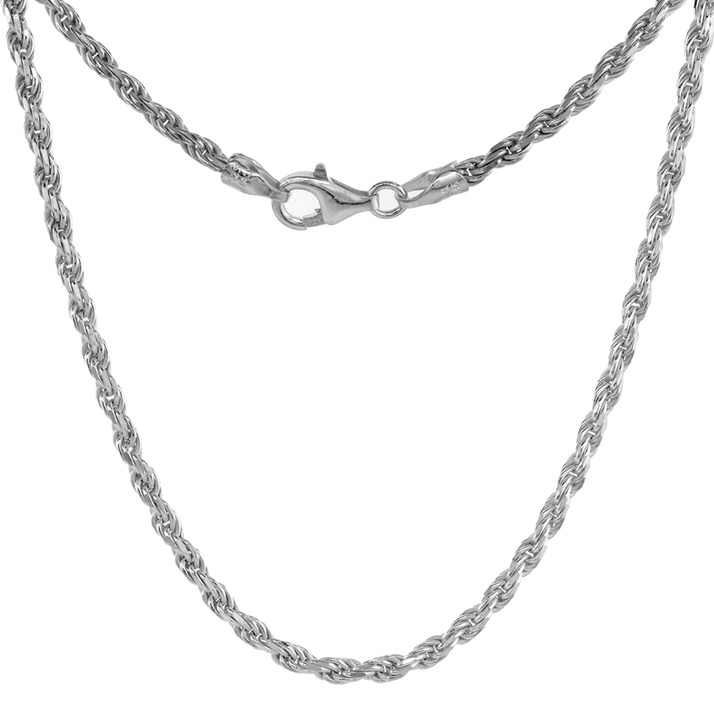 Sterling Silver Rope Chain Necklaces & Bracelets 2.6mm Diamond cut Nickel Free Italy, sizes 7 - 30 inch