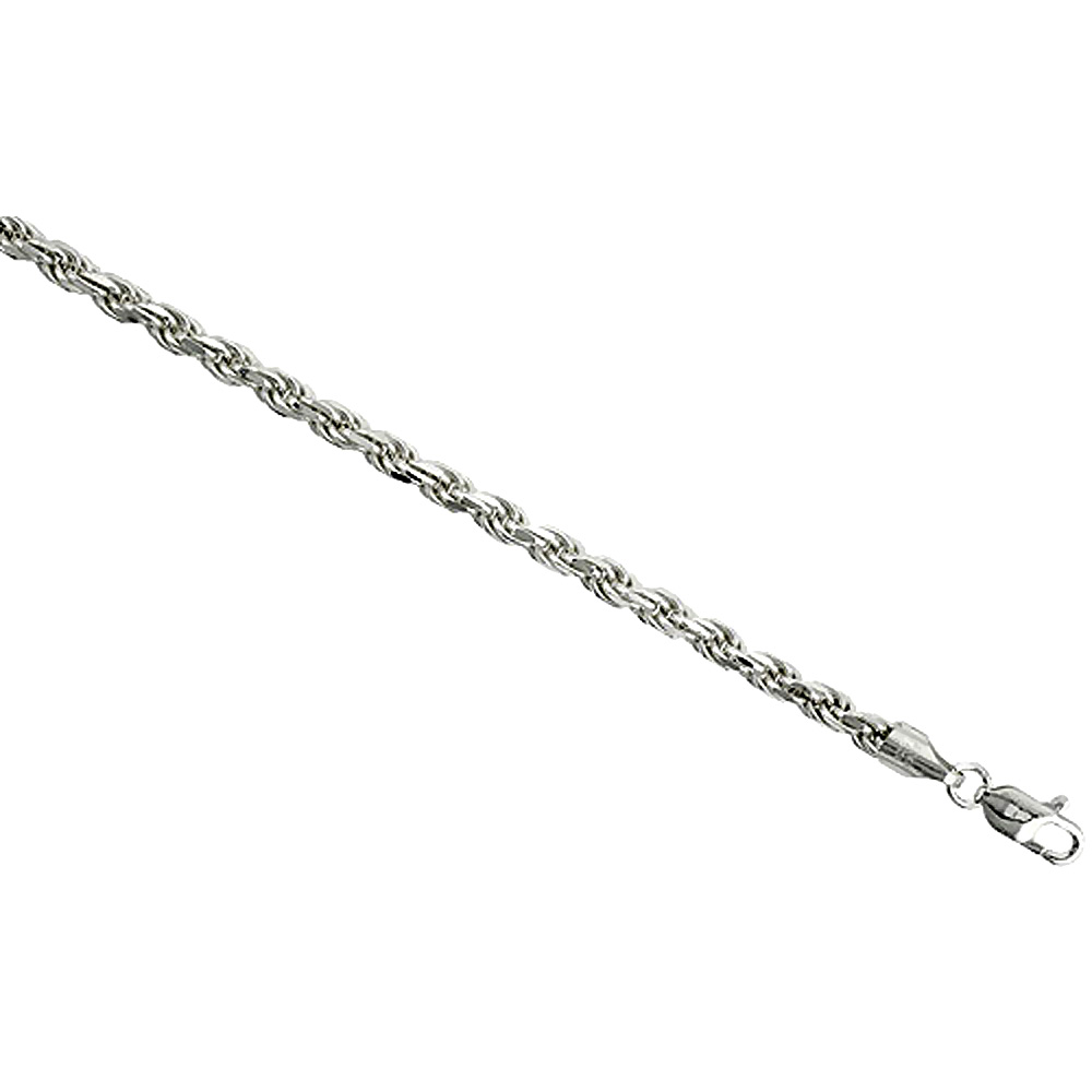 Sterling Silver Rope Chain Necklaces & Bracelets 4mm Thick Diamond cut Nickel Free Italy, 7-30 inch