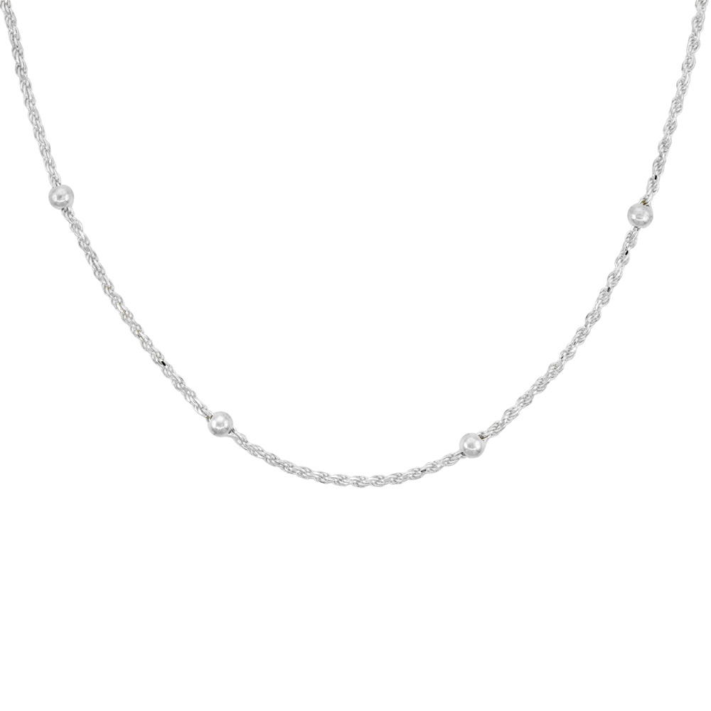Sterling Silver Rope Chain Station Necklaces & Anklets 6mm Beads Nickel Free Italy, sizes 7 - 30 inch
