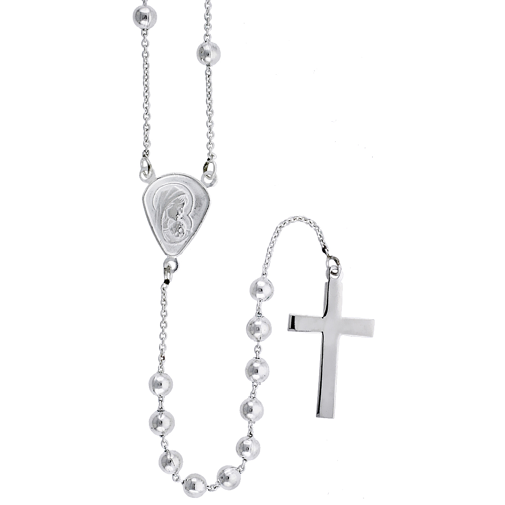 Sterling Silver Rosary Necklace 4 mm Beads, 30 inch