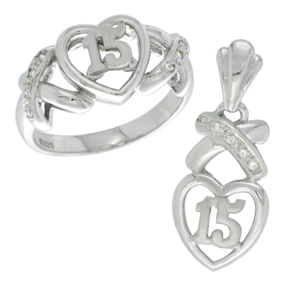 Sterling Silver Quinceanera 15 Anos Heart Ring & Pendant Set CZ Stones CZ stones Rhodium Finished