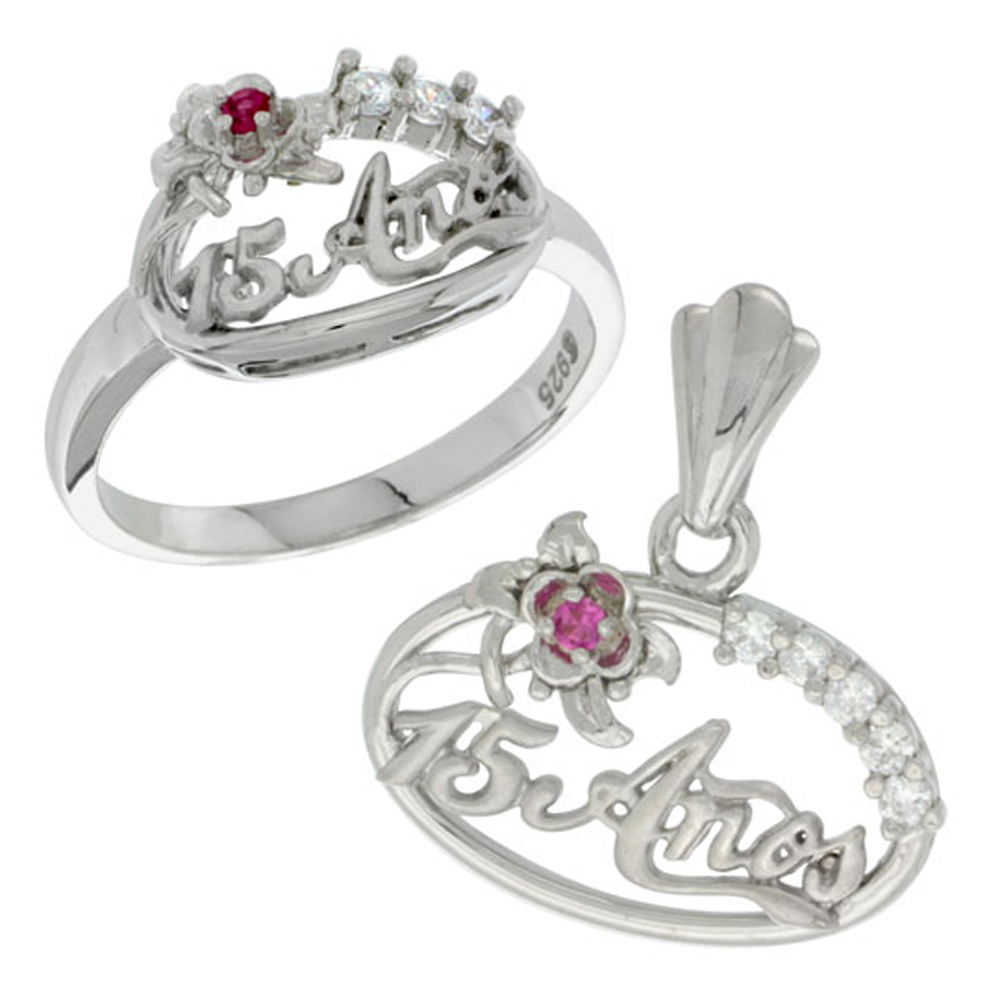 Sterling Silver Quinceanera 15 Anos Flower Ring & Pendant Set CZ Stones Rhodium Finished