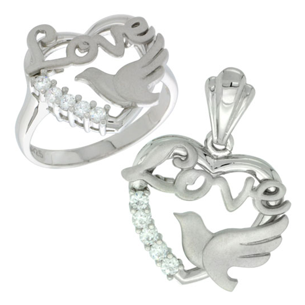Sterling Silver LOVE Dove Heart Ring & Pendant Set CZ Stones Rhodium Finished