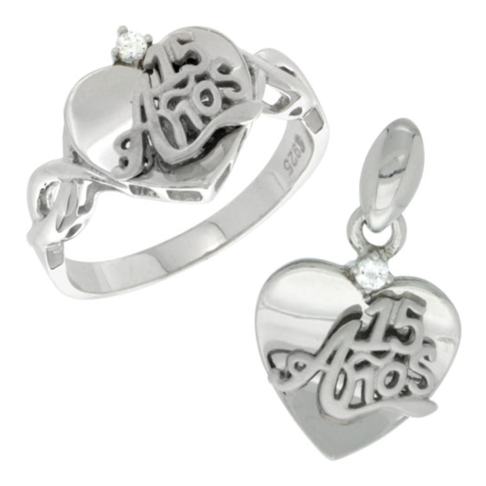 Sterling Silver Quinceanera 15 Anos Heart Ring & Pendant Set CZ Stones Rhodium Finished
