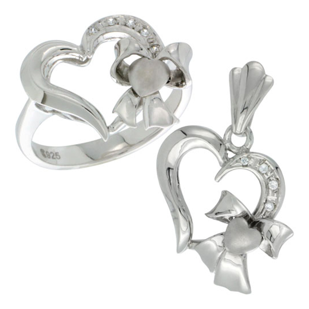 Sterling Silver Heart Bow Heart Ring & Pendant Set CZ Stones Rhodium Finished