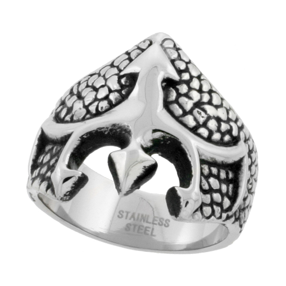 Stainless Steel Scaly Trident Ring Biker Rings for men 7/8 inch, sizes 9 - 15