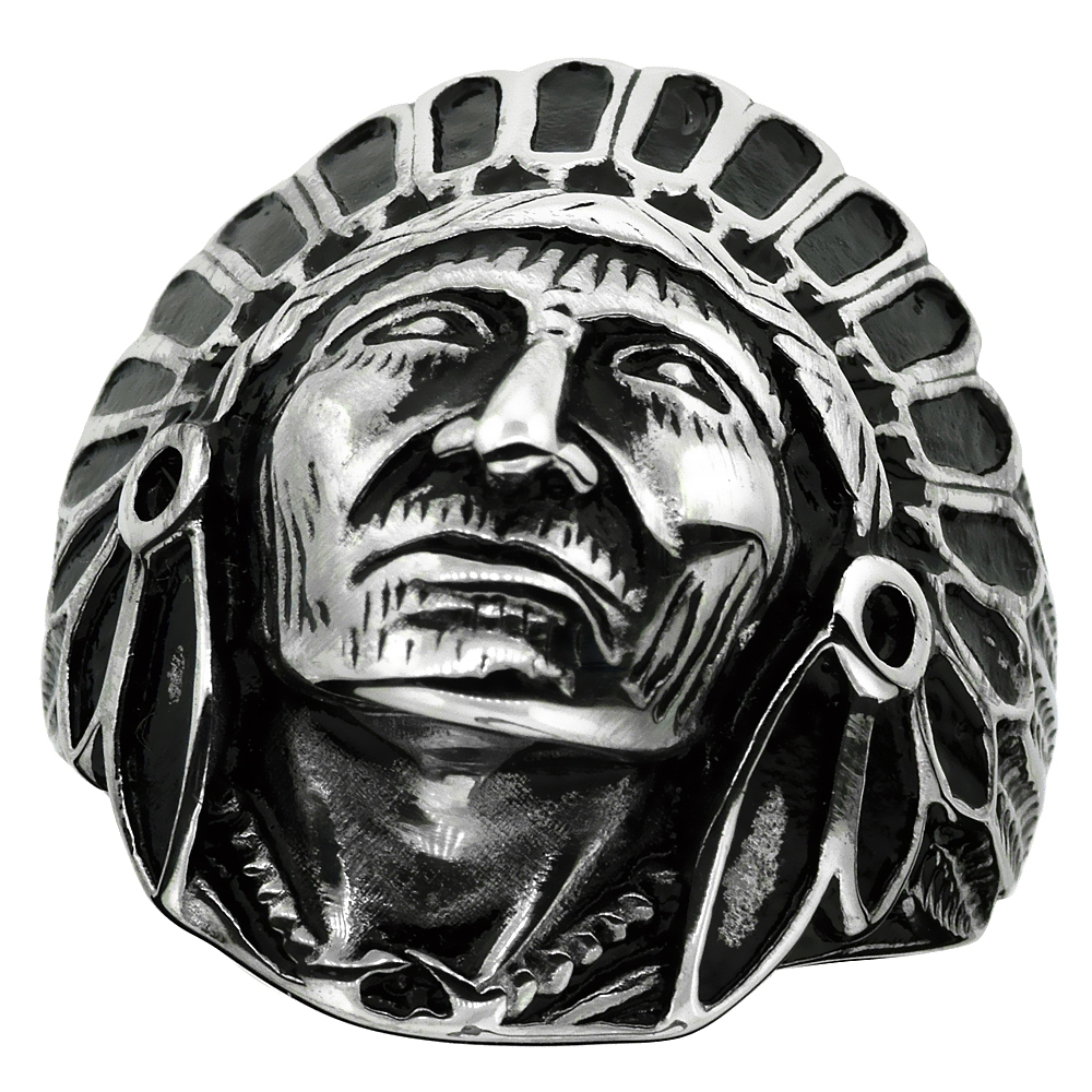 Surgical Stainless Steel Biker Ring Indian Chief Head 1 3/16 inch wide, sizes 9 - 15
