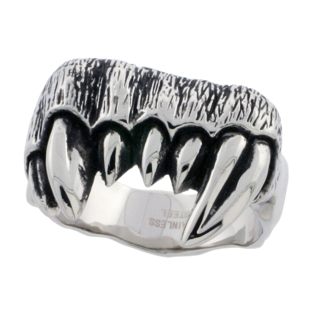 Stainless Steel Fangs Ring Biker Rings for men 3/4 inch, sizes 9 - 15