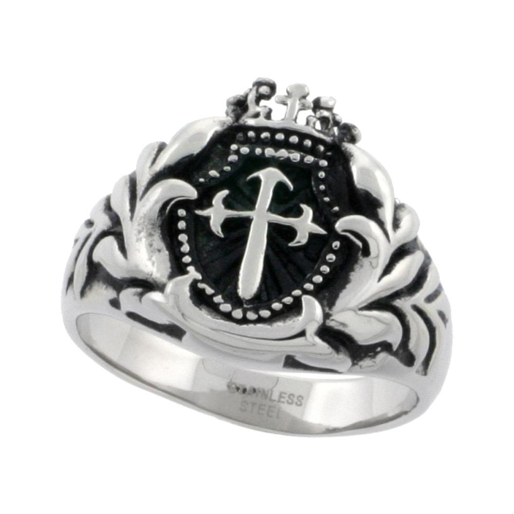Stainless Steel St. James Cross Ring Biker Rings for men 9/16 inch, sizes 8 - 15