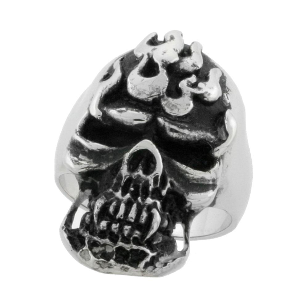 Stainless Steel Skull Ring with Flames Biker Rings for men 1 1/4 inch, sizes 9 - 15