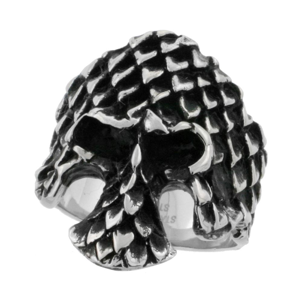 Stainless Steel Skull Ring Scaly Armor biker Rings for men 1 3/16 inch, sizes 9 - 15