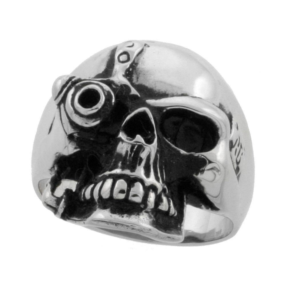 Stainless Steel Cyborg Skull Ring Biker Rings for men 9/16 inch, sizes 9 - 15