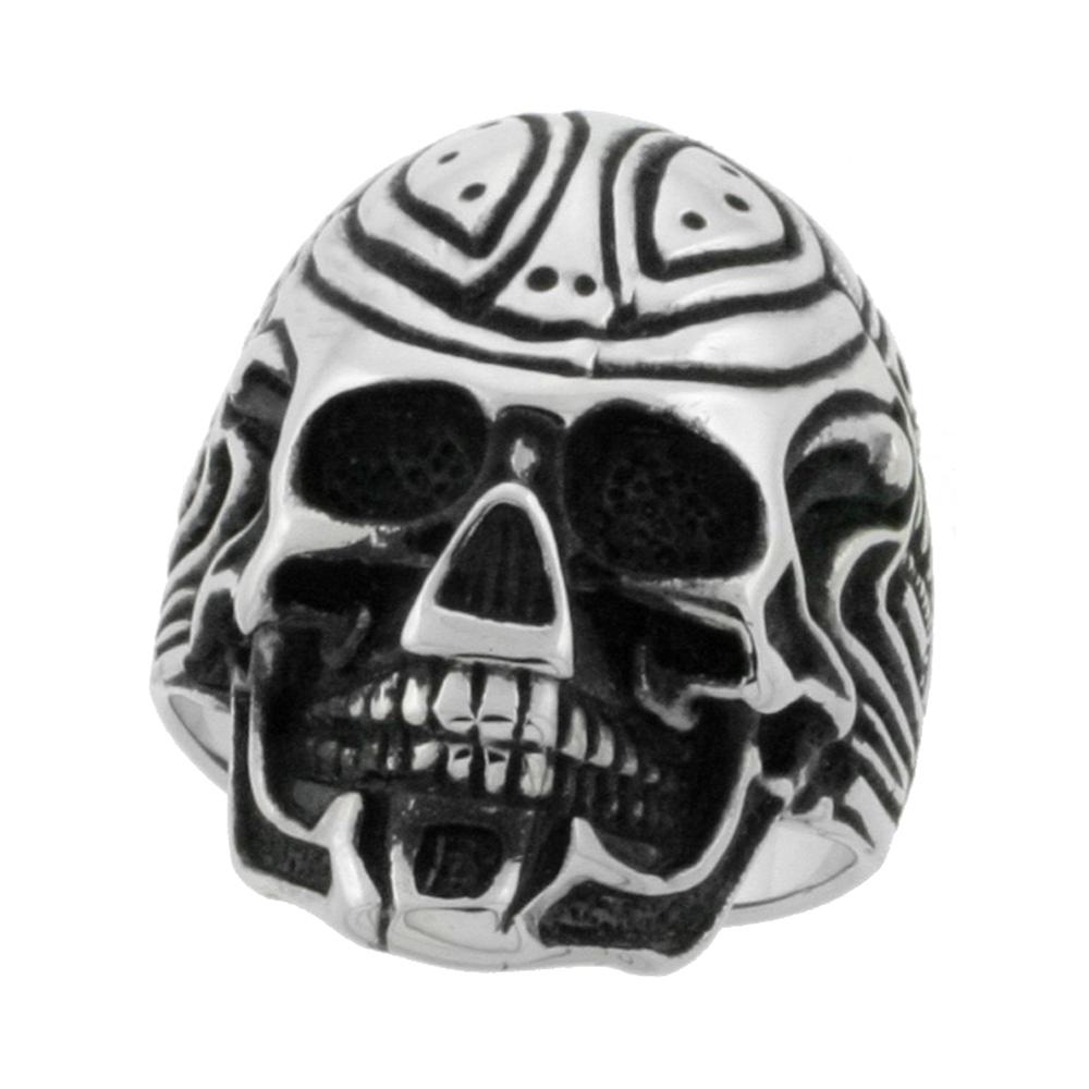 Stainless Steel Cyborg Skull Ring Biker Rings for men 1 1/8 inch, sizes 9 - 15