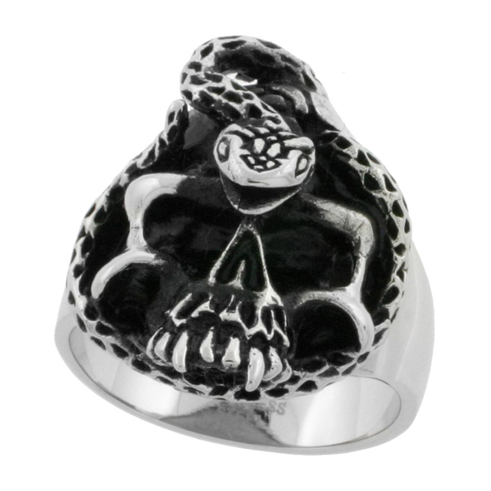 Stainless Steel Skull Ring Snake biker Rings for men 1 3/16 inch, sizes 9 - 15