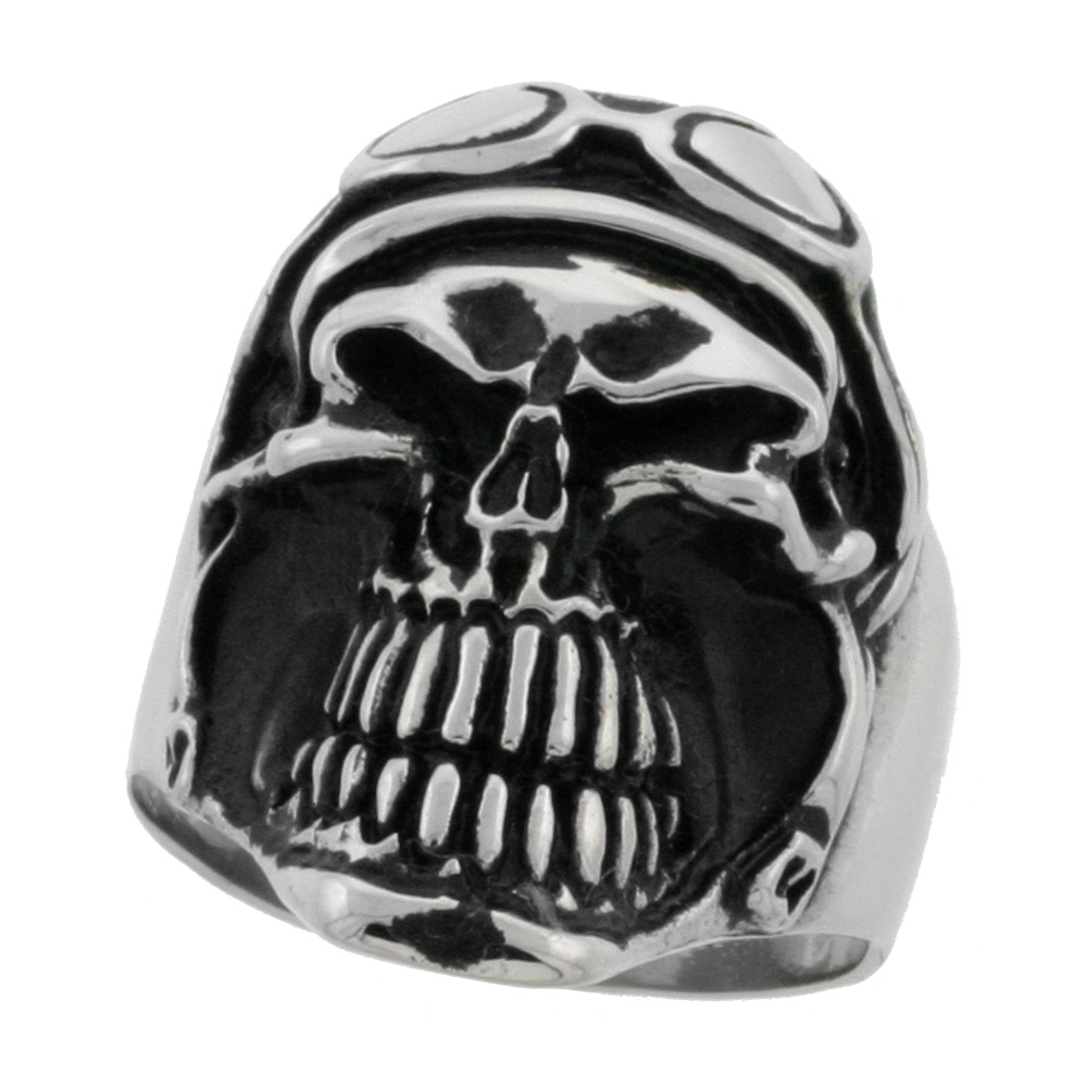 hat stainless steel top rings wide skeleton biker ring sizes surgical men for with inch