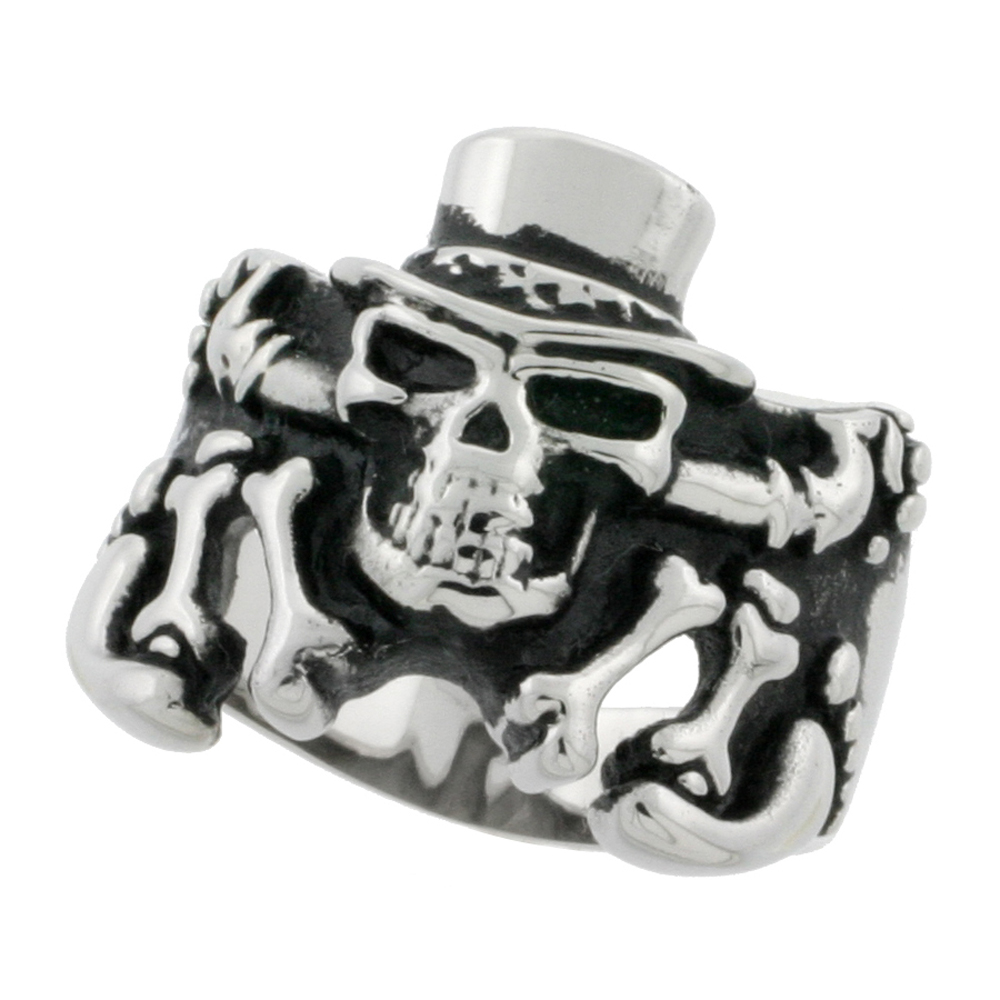 Stainless Steel Skeleton Ring Top Hat Biker Rings for men 7/8 inch, sizes 9 - 15