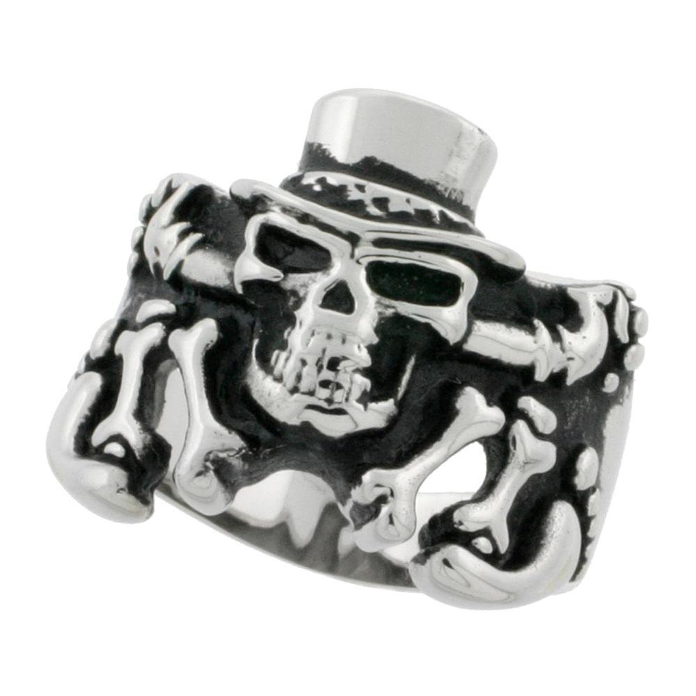 Stainless Steel Skeleton Ring Top Hat Biker Rings for men 7/8 inch, sizes 9 - 15