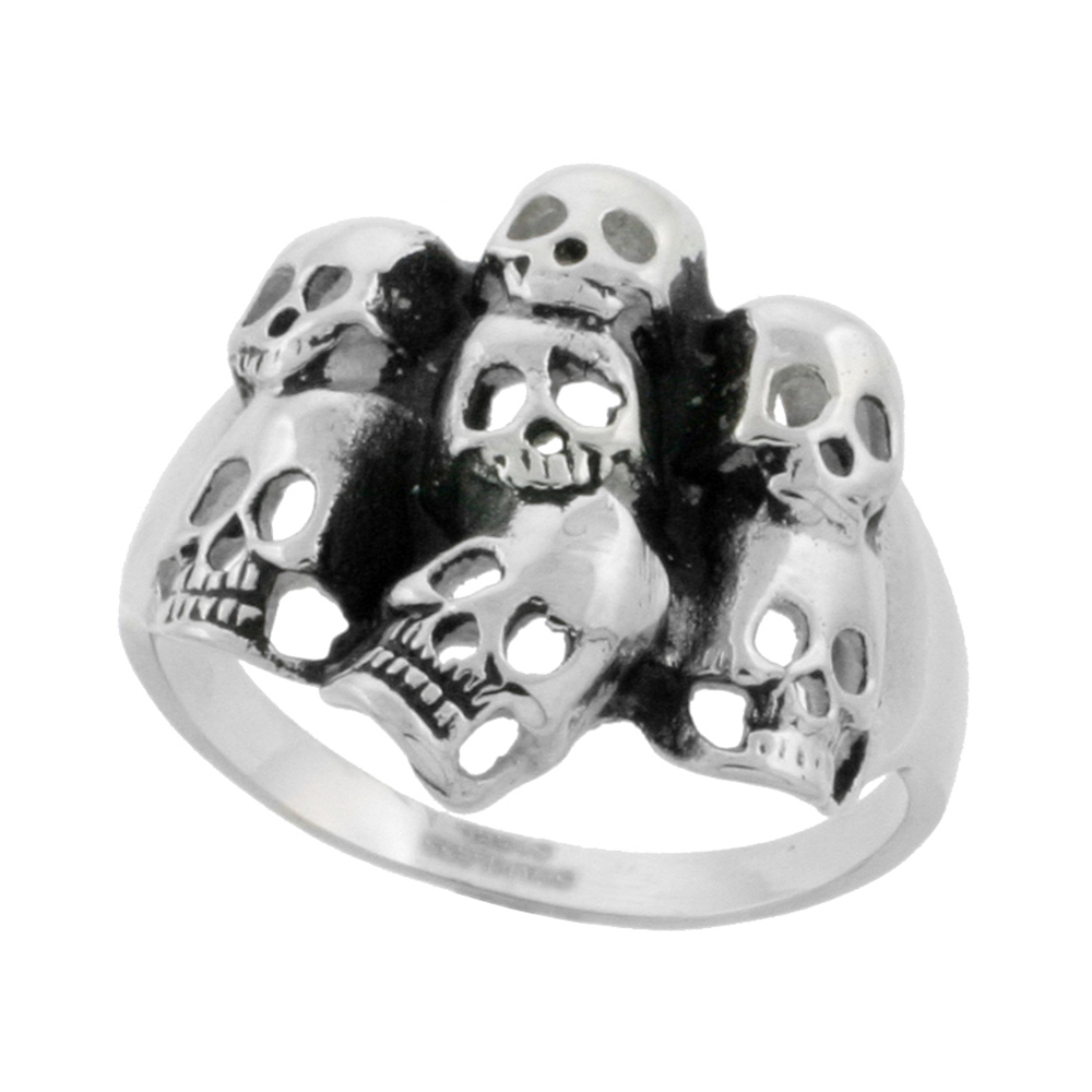 Stainless Steel Skulls Ring Biker Rings for men 7/8 inch, sizes 9 - 15