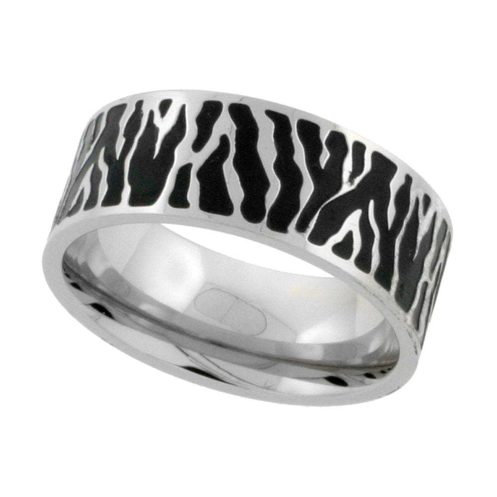 Surgical Stainless Steel Zebra Stripe Ring 9mm Wedding Band Blackened finish, sizes 7 - 14