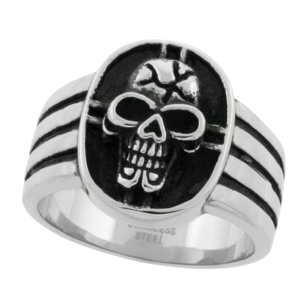 Stainless Steel Skull & Cross Ring Biker Rings for men 3/4 inch, sizes 9 - 14