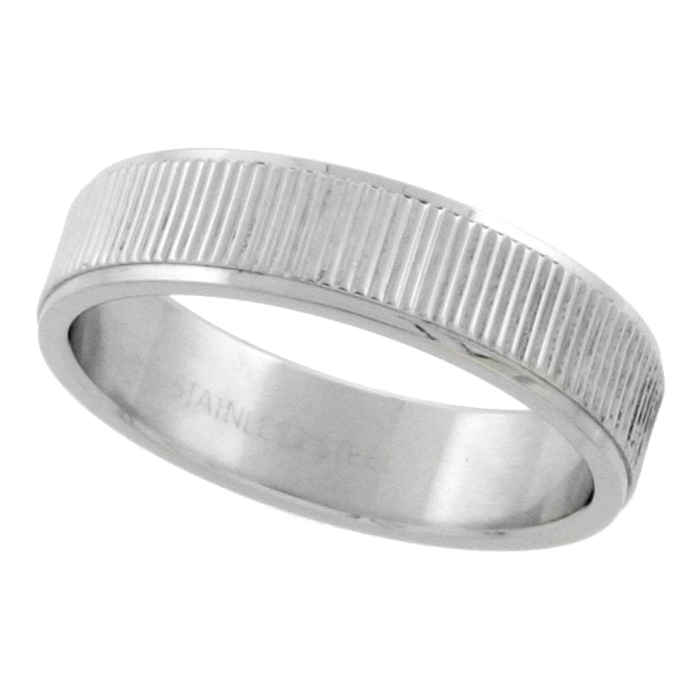 Surgical Stainless Steel 6mm Wedding Band Ring Coin Edge Finish, sizes 7 - 14