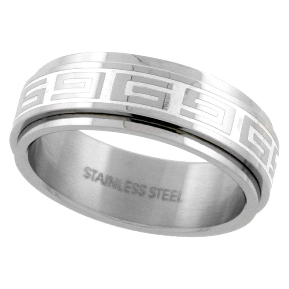 Surgical Stainless Steel Greek Key Spinner Ring 8mm Wedding Band, sizes 7 - 14