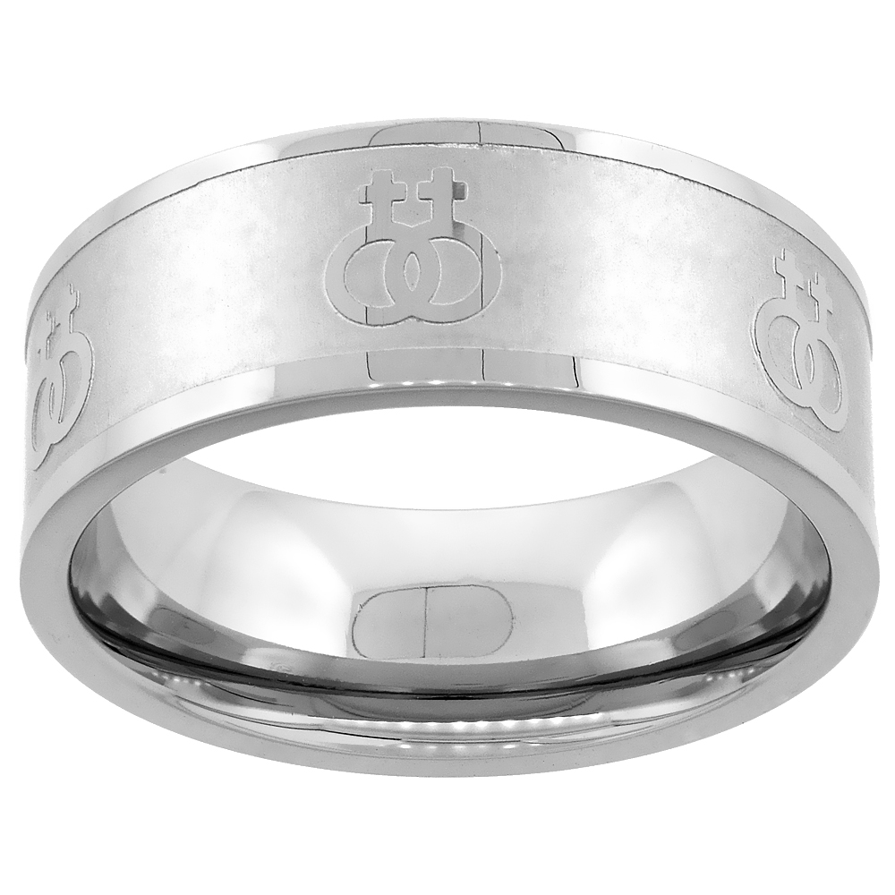 Stainless Steel Lesbian Symbols Ring 8mm Wedding Band, sizes 5 - 9