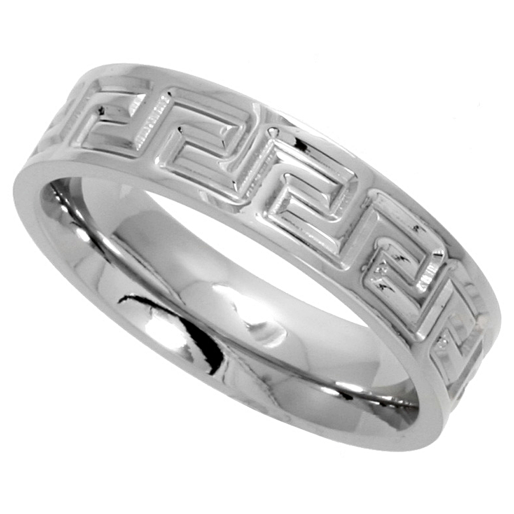 Surgical Stainless Steel Greek Key Ring 6mm Wedding Band Comfort-Fit, sizes 6 - 14