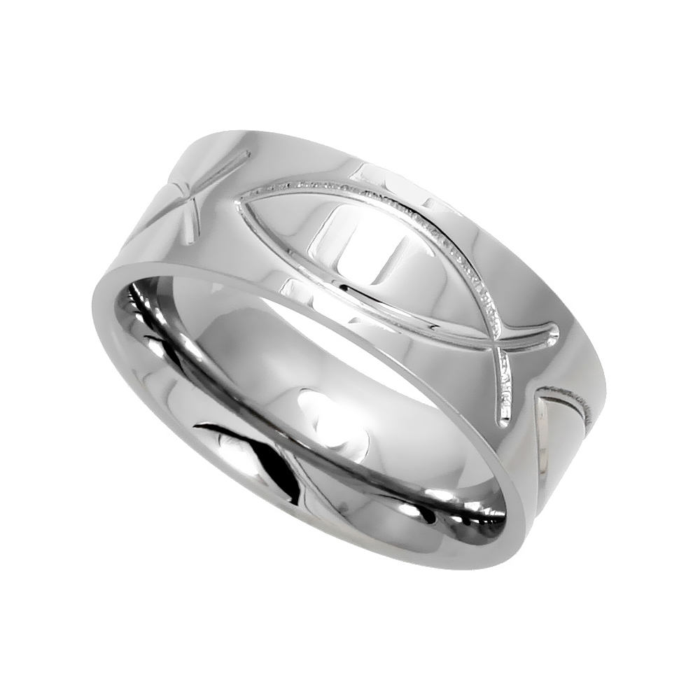 Surgical Stainless Steel Christian Fish Ring 8mm Ichthys Wedding Band Comfort-Fit, sizes 6 - 14