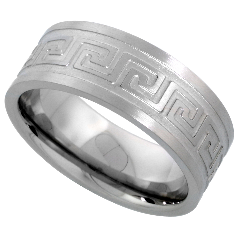 home stainless steel wedding bands Surgical Stainless Steel 8mm Greek Key Wedding Band Ring Comfort Fit sizes 7