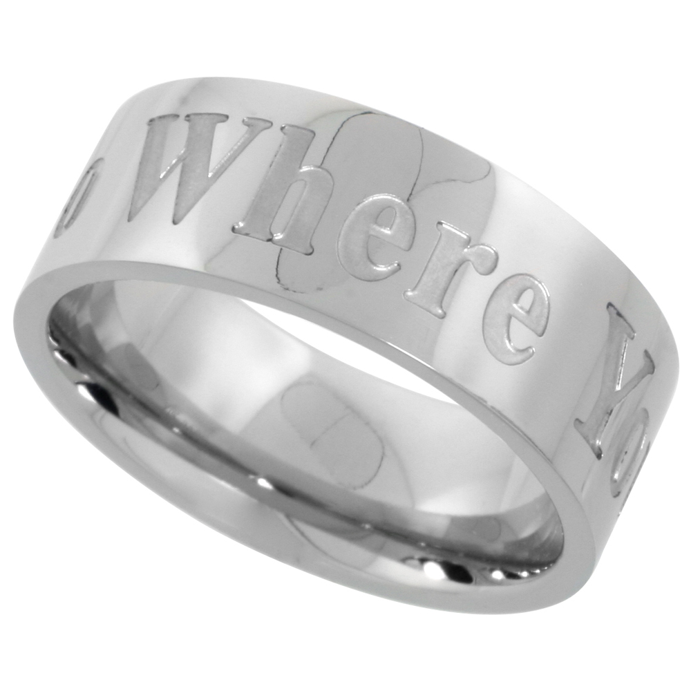 Surgical Stainless Steel 8mm WHERE YOU GO I WILL GO Wedding Band Ring Comfort-Fit, sizes 8 - 14