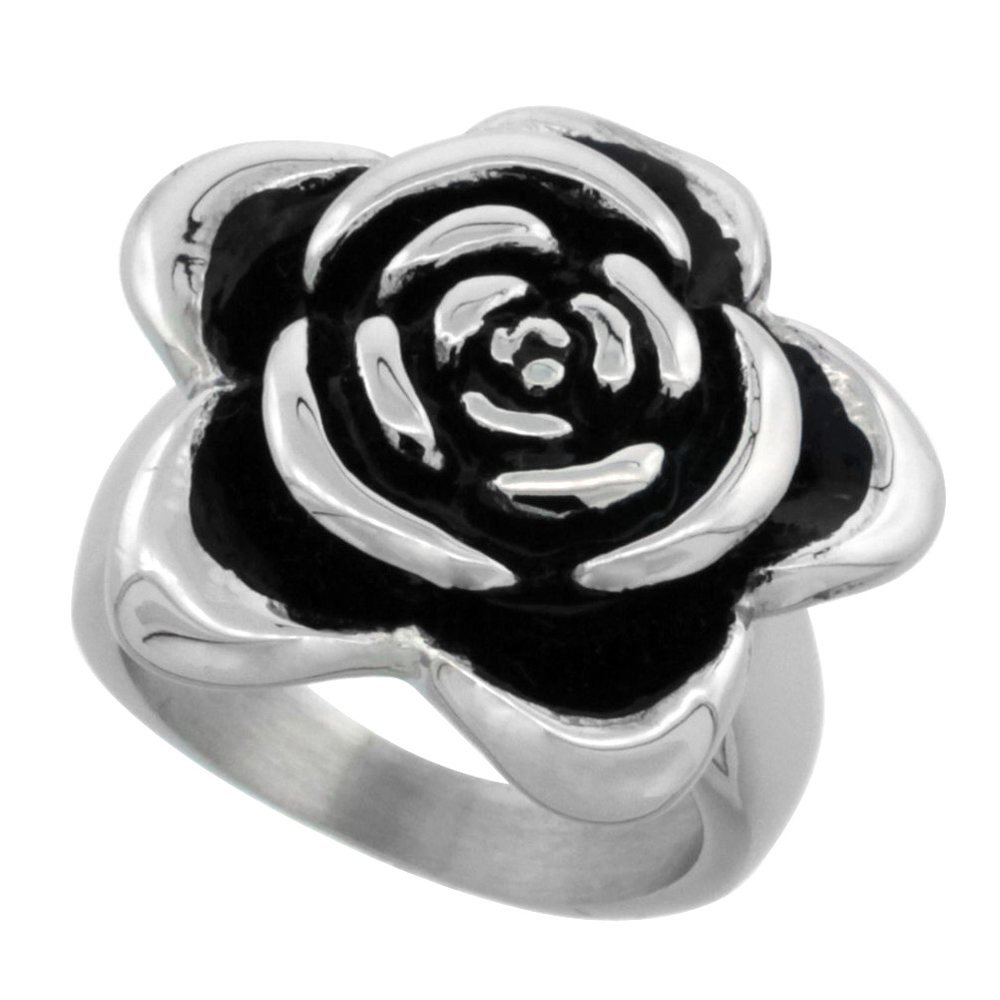 Stainless Steel Rose Ring for Women 13/16 inch, sizes 6 - 9