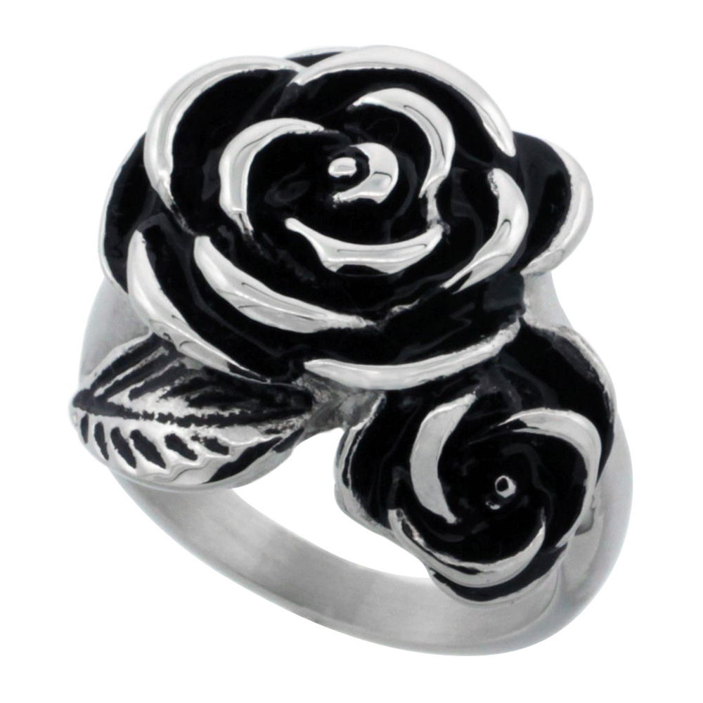 Stainless Steel Double Rose Ring for Women 7/8 inch, sizes 6 - 9