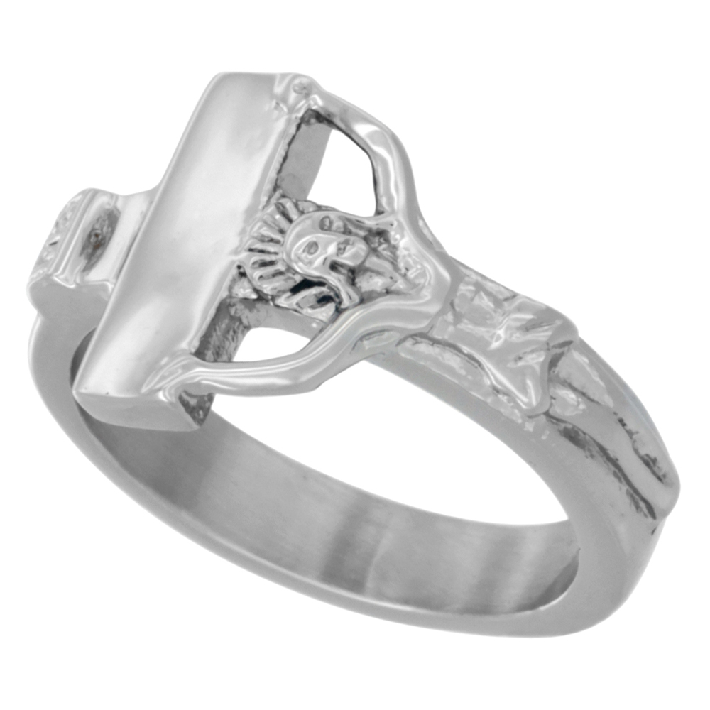Stainless Steel Crucifix Ring, 1/2 inch wide