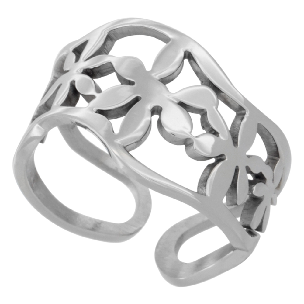 Stainless Steel Floral Wavy Cuff Ring, 9/16 inch wide