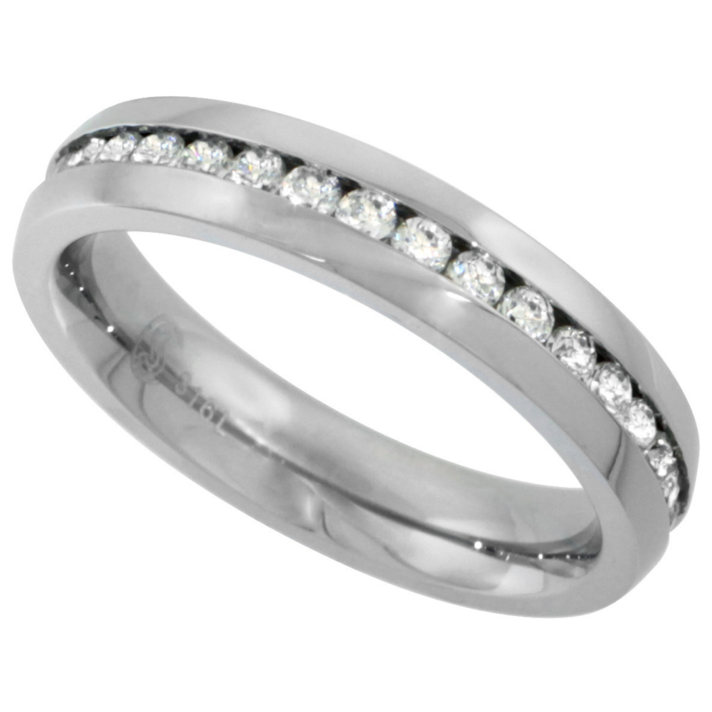 Surgical Stainless Steel Ladies 4mm CZ Eternity Ring Wedding Band Thin Comfort fit, sizes 5 - 9
